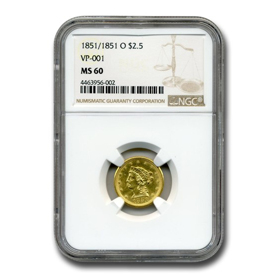 1851/1851-O $2.50 Liberty Gold Quarter Eagle MS-60 NGC (VP-001)